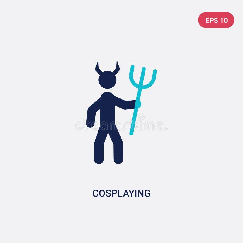 从活动和爱好概念的两种颜色的cosplaying的传染媒介象 被隔绝的蓝色cosplaying的传染媒介标志标志可以是网的用途 库存例证