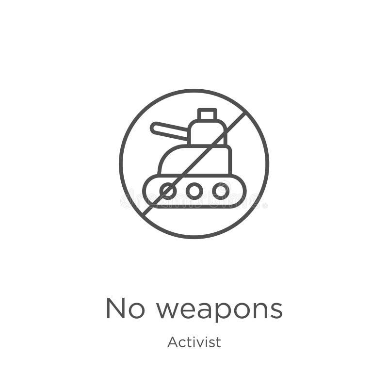 从活动家汇集的没有武器象传染媒介 稀薄的线没有武器概述象传染媒介例证 概述,稀薄的线不 皇族释放例证