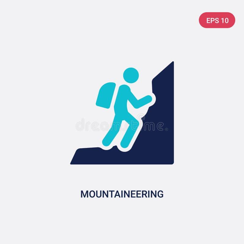 从活动概念的两种颜色的登山传染媒介象 被隔绝的蓝色登山传染媒介标志标志可以是网的用途, 向量例证