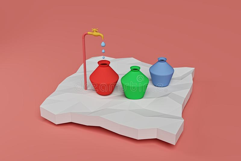 从浇灌罐的轻拍的水水滴,3d翻译 向量例证