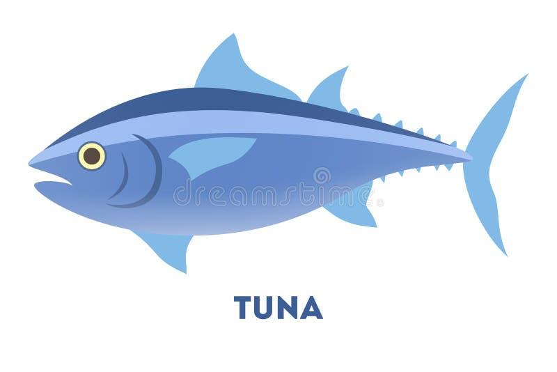 从海洋或海的金枪鱼 向量例证