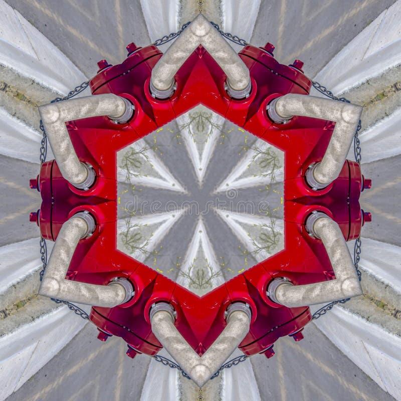 从消防龙头和水管的大红色六角形 库存例证