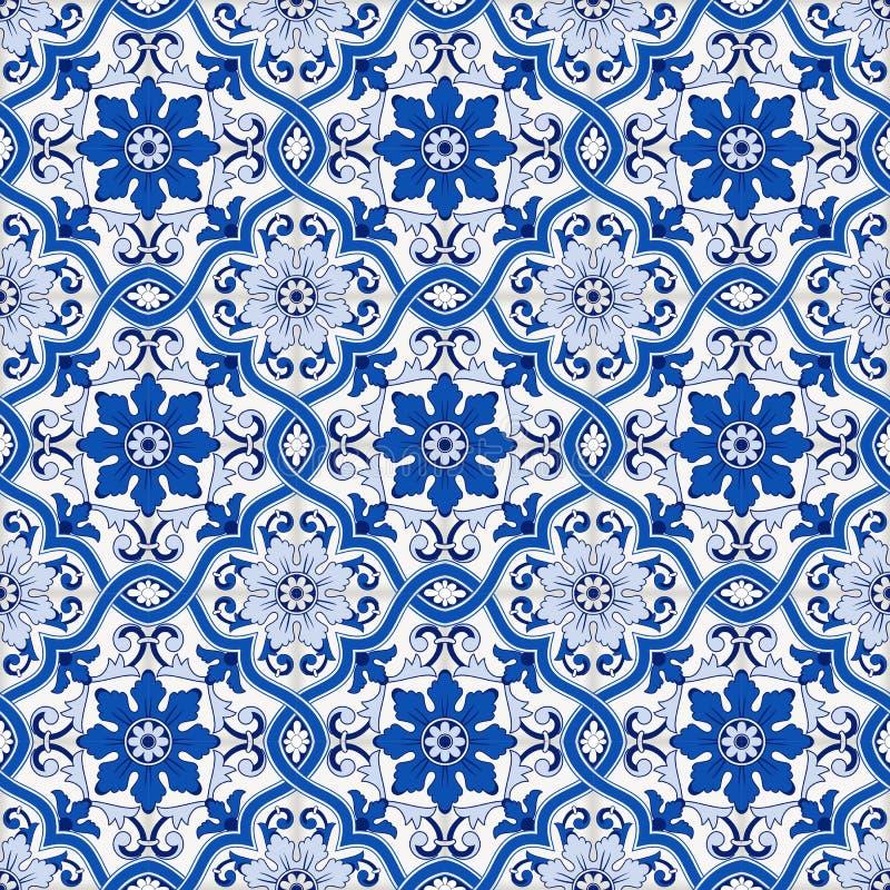 从深蓝和白色摩洛哥,葡萄牙瓦片, Azulejo,装饰品的华美的无缝的样式 能使用为 库存例证