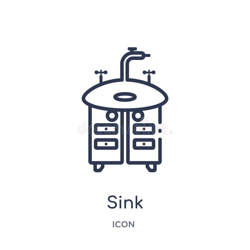 从清洗的概述收藏的线性水槽象 稀薄的线在白色背景隔绝的水槽传染媒介 水槽时髦例证 库存例证