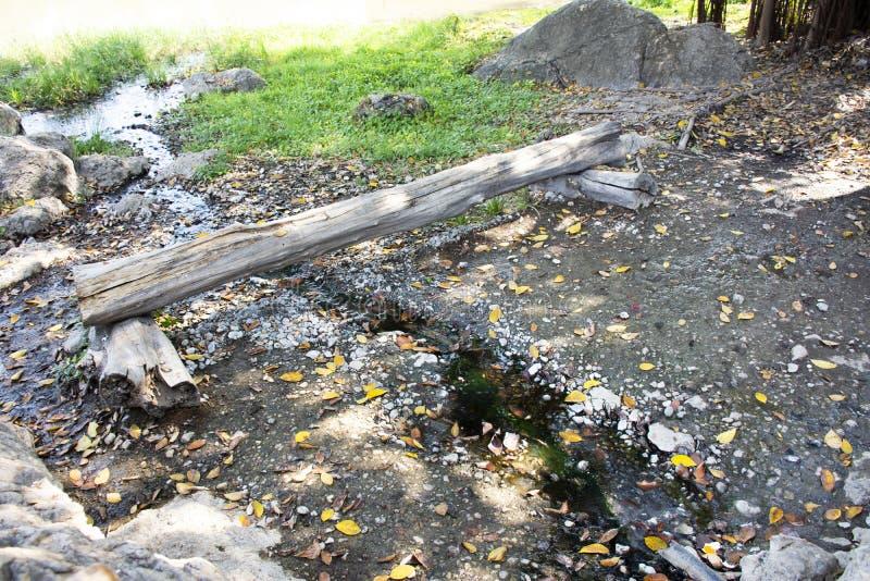 从温泉城的水小河在清莱,泰国 免版税库存图片