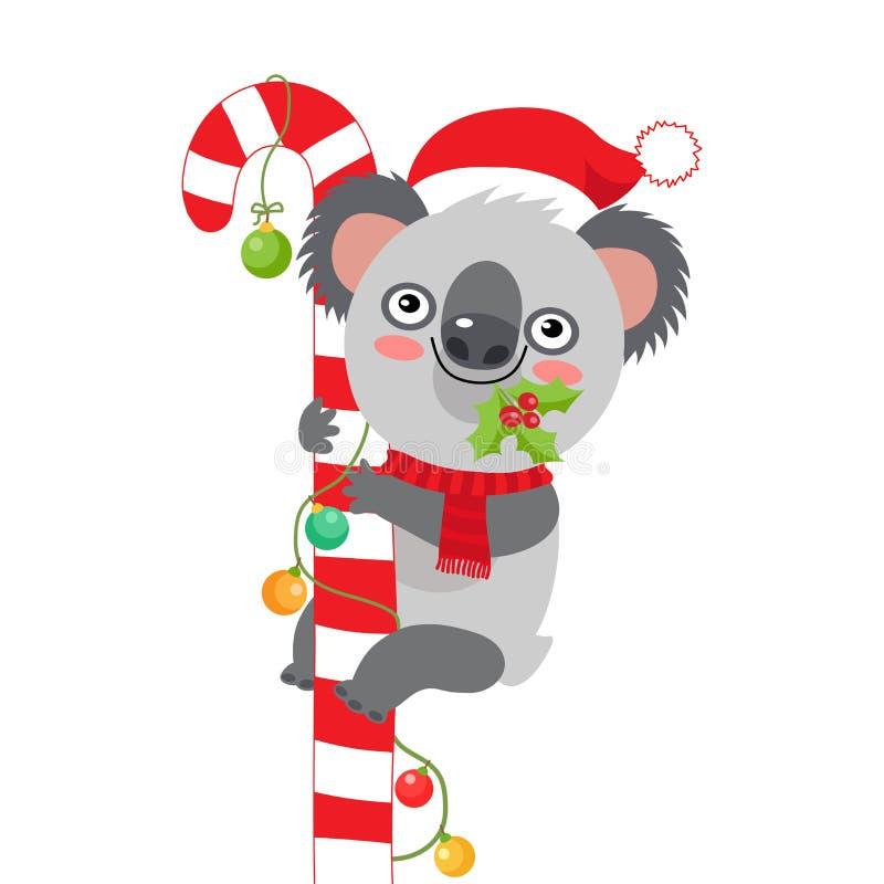 从澳大利亚考拉圣诞卡片的圣诞快乐 逗人喜爱的动物卡通人物 向量例证