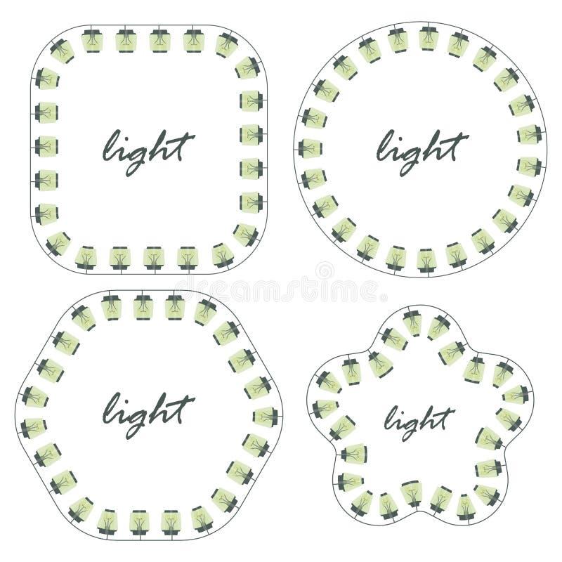 从灯笼的图白炽光电灯泡爱迪生浅绿色透明与题字正方形圆的三角星集合ve 向量例证