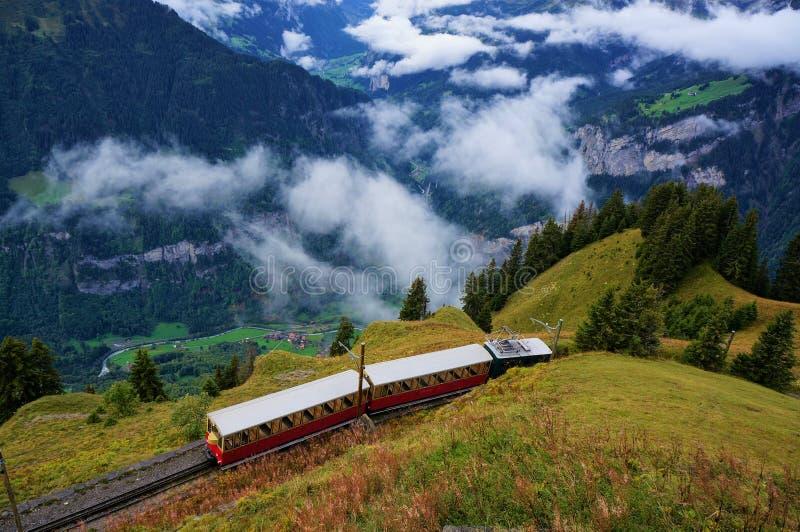 从烟特勒根的减速火箭的对Schynige普拉特的火车, Wilderswil和高山森林惊人的看法  免版税图库摄影