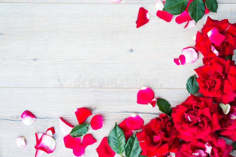 从玫瑰的框架在灰色木背景 与拷贝空间的平的位置 花纹花样纹理 免版税库存照片