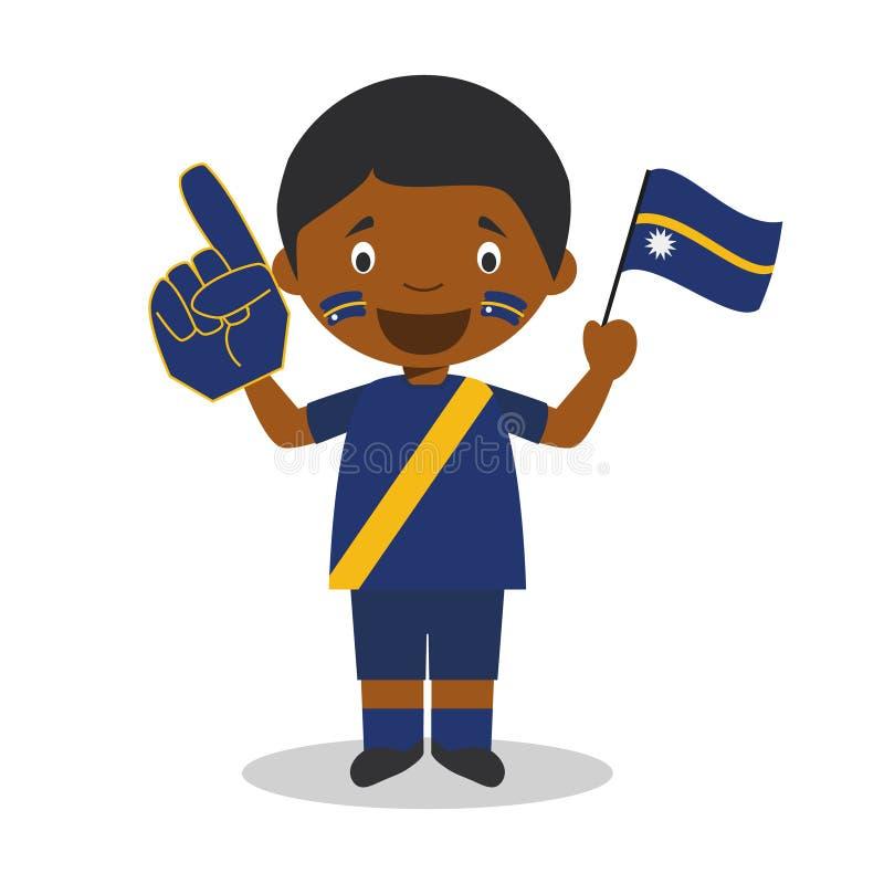 从瑙鲁的全国体育队爱好者有旗子和手套传染媒介例证的 向量例证