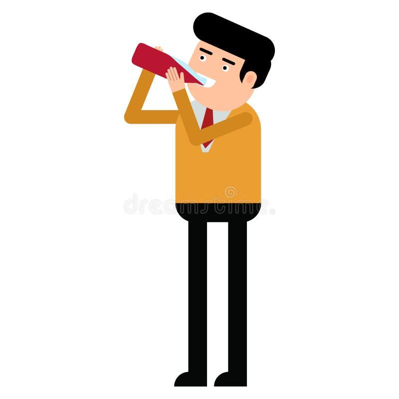 从瓶的有吸引力的年轻人饮用的糖浆 库存例证