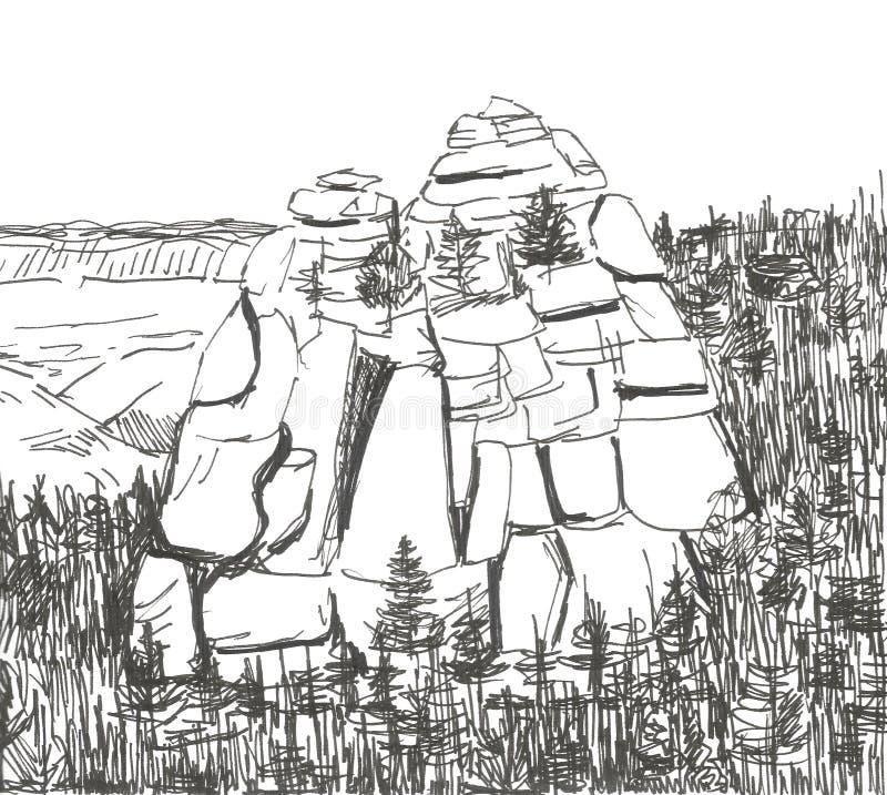 从生活岩石在森林里,图表,墨水的剪影 向量例证