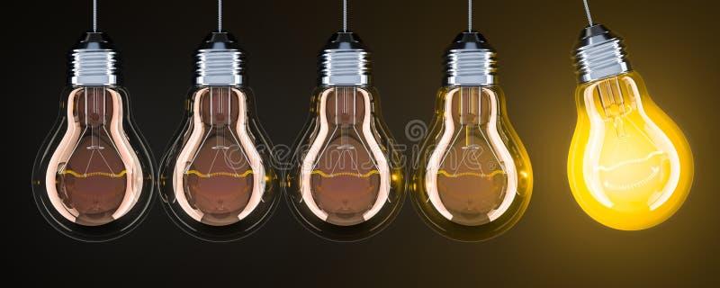 从电灯泡的摆锤在黑暗的背景, 3D翻译 向量例证