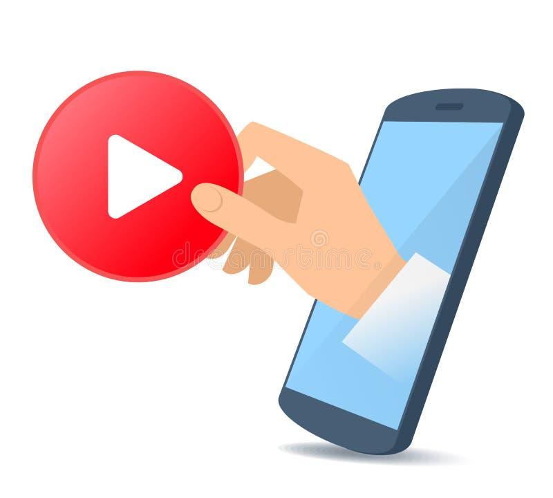 从电话` s屏幕的一只手举行录影标志 向量例证
