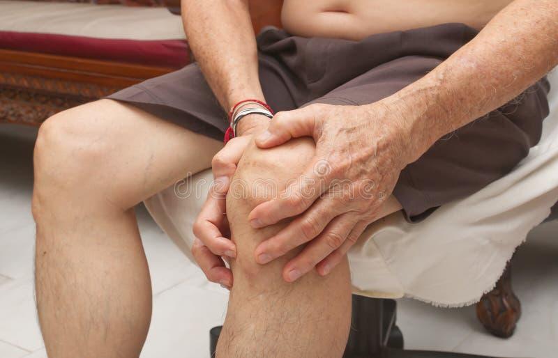 从痛苦在膝盖,在年长的痛苦,医疗保健,总膝盖替换的年长人痛苦 免版税图库摄影