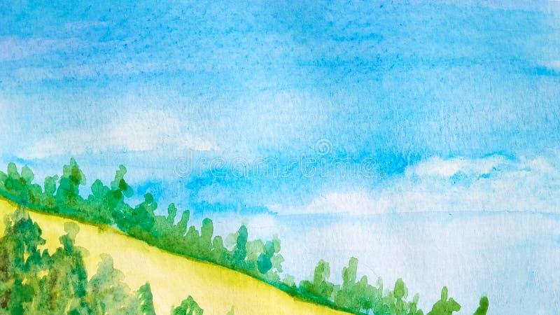 从白天天空和小山风景的背景与森林、黄色领域或者沙漠 水彩 向量例证