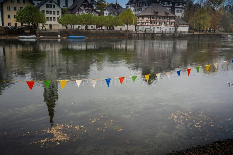 从盖林根到瑞士迪森霍芬的莱茵河 前往瑞士迪森霍芬 图库摄影