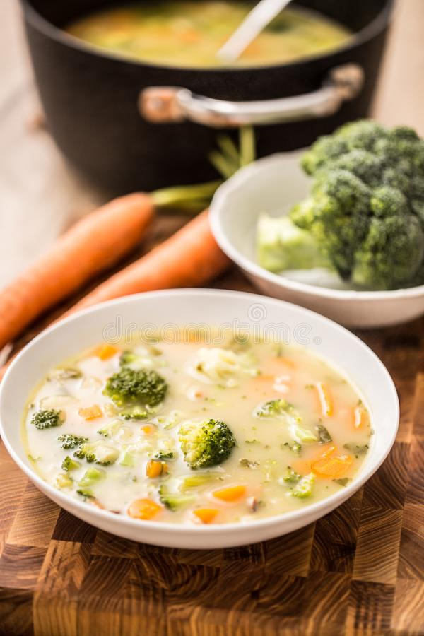 从硬花甘蓝红萝卜葱和其他成份的菜汤 健康素食食物和饭食 免版税库存照片