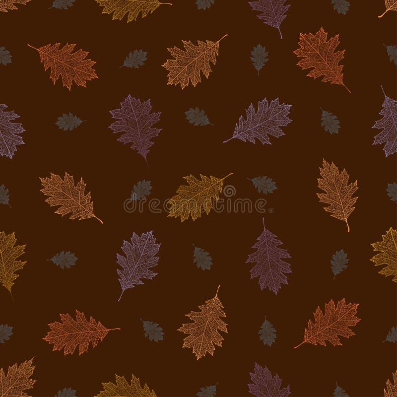 从秋天北赤栎葡萄酒叶子的无缝的样式在棕色背景的 皇族释放例证