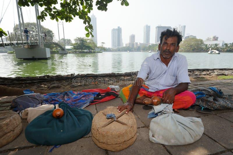 从科伦坡的耍蛇者在斯里兰卡 库存图片
