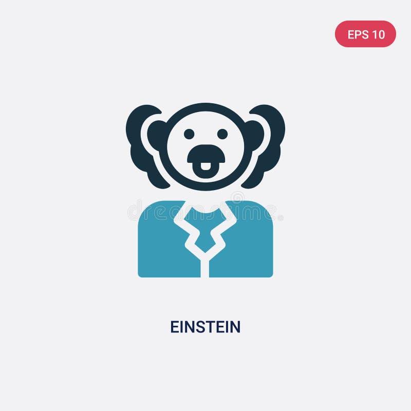 从科学概念的两种颜色的爱因斯坦传染媒介象 被隔绝的蓝色爱因斯坦传染媒介标志标志可以是网、机动性和商标的用途 皇族释放例证