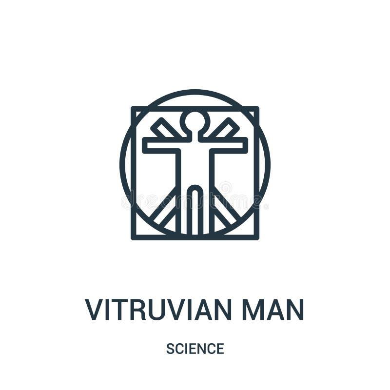 从科学汇集的vitruvian人象传染媒介 稀薄的线vitruvian人概述象传染媒介例证 线性标志为使用 库存例证