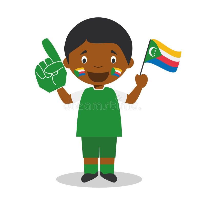 从科摩罗的全国体育队爱好者有旗子和手套传染媒介例证的 库存例证