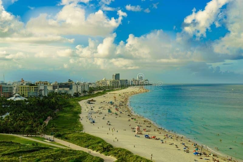 从空气的南海滩视图,迈阿密海滩 佛罗里达 免版税库存图片