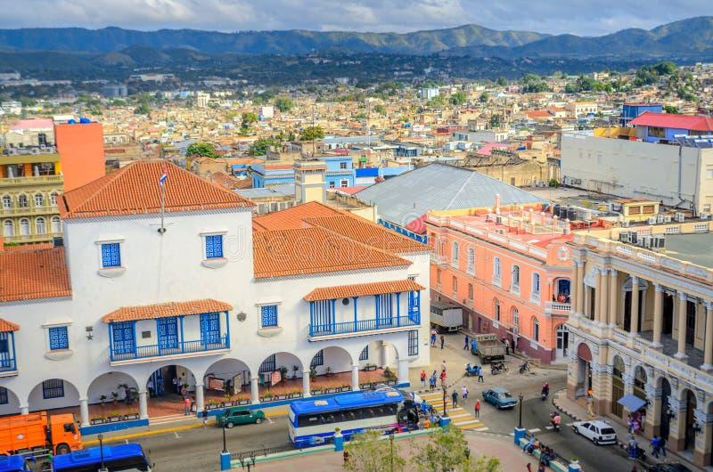 从空气的看法到老古巴城市 免版税库存照片