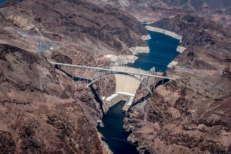 从空气的胡佛水坝 免版税库存图片
