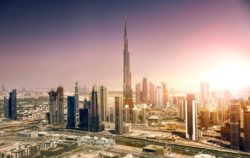 从空气的迪拜地平线 免版税库存照片