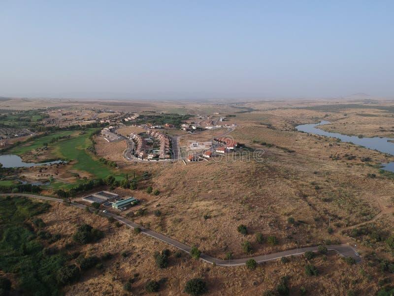从空气看的高尔夫球场拉约斯,托莱多 图库摄影