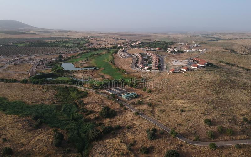 从空气看的高尔夫球场拉约斯,托莱多 库存图片