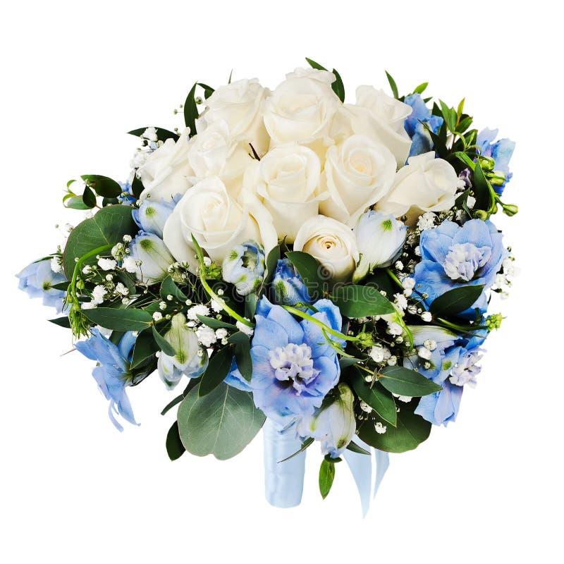 从空白玫瑰和翠雀的婚礼花束 免版税库存图片