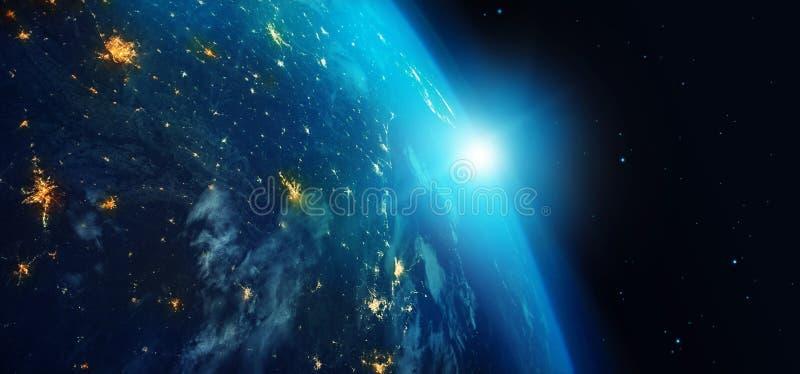 从空间在晚上与城市光和蓝色日出的地球在星背景 3d翻译 用装备的这个图象的元素  库存例证