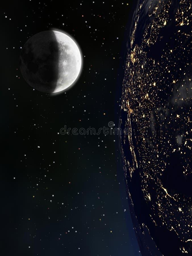 从空间或卫星和月亮看见的地球 库存例证