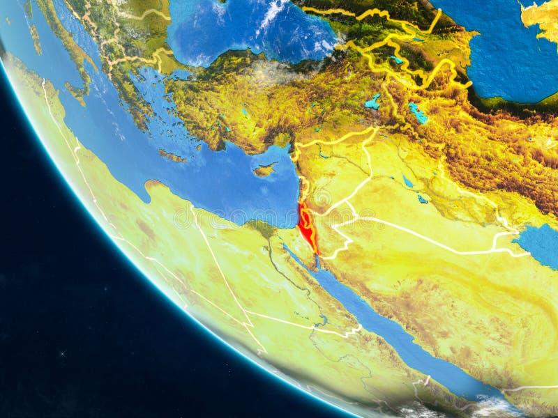 从空间的以色列地球上 库存例证
