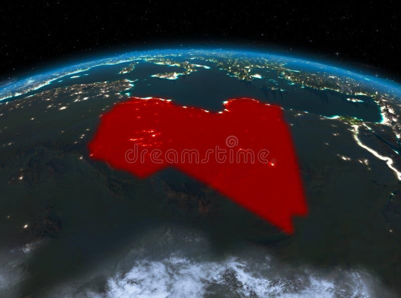 从空间的利比亚在晚上 皇族释放例证
