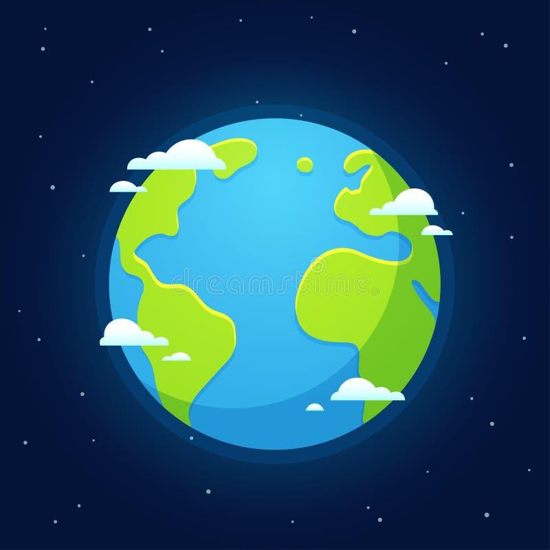 从空间的动画片地球 库存例证