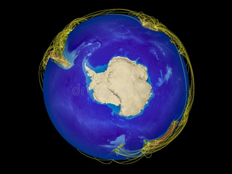 从空间的南极洲与代表国际通信,旅行,连接的线的地球上 3d例证 要素 皇族释放例证