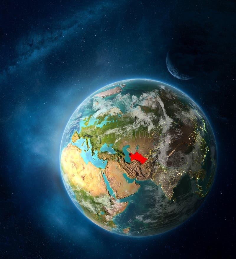 从空间的土库曼斯坦行星地球上 免版税库存照片