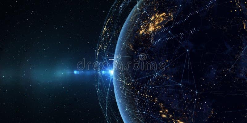 从空间的地球在与一个数字通信系统的晚上 3 向量例证