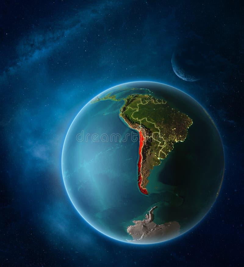 从空间的智利行星地球上 向量例证