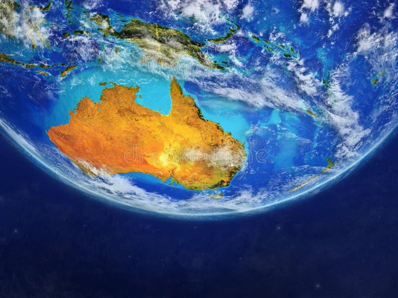 从空间的澳大利亚在行星地球模型与国家边界的 极端行星表面和云彩美好的细节  3d 库存例证