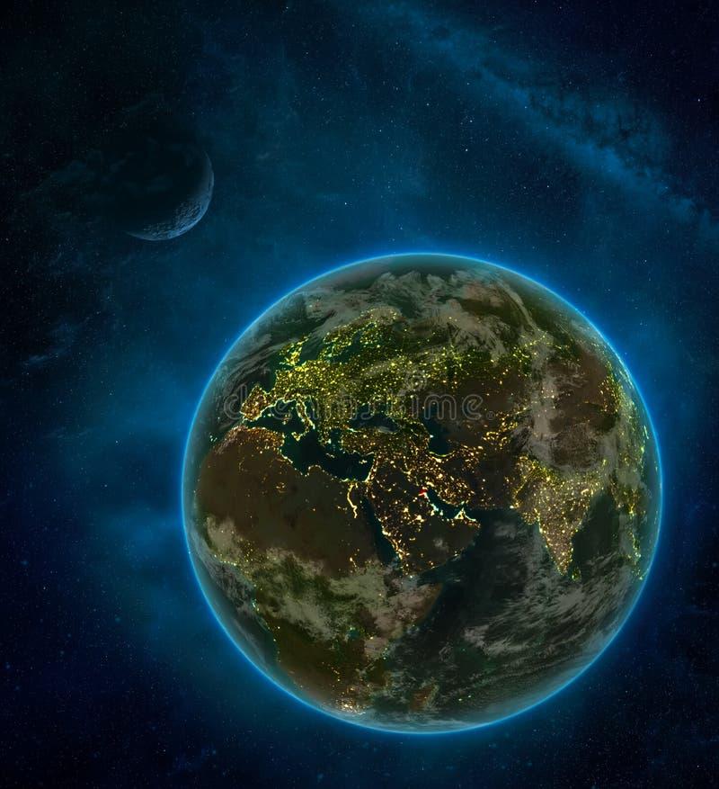 从空间的科威特与月亮和银河的空间在晚上围拢的地球上 与城市光和云彩的详细的行星 3d 向量例证