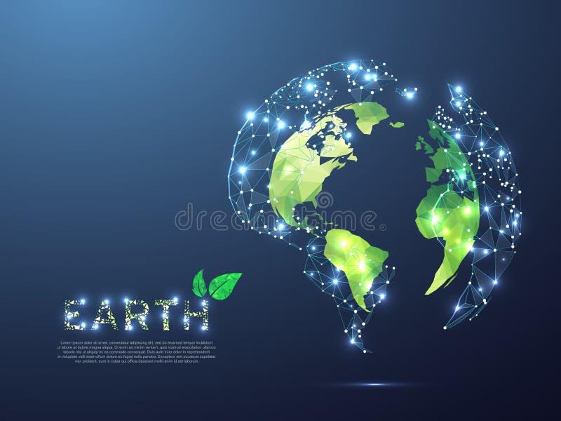 从空间的绿色ECO行星地球视图 低多3d例证 以地球的形式传染媒介多角形臭氧盾 库存例证
