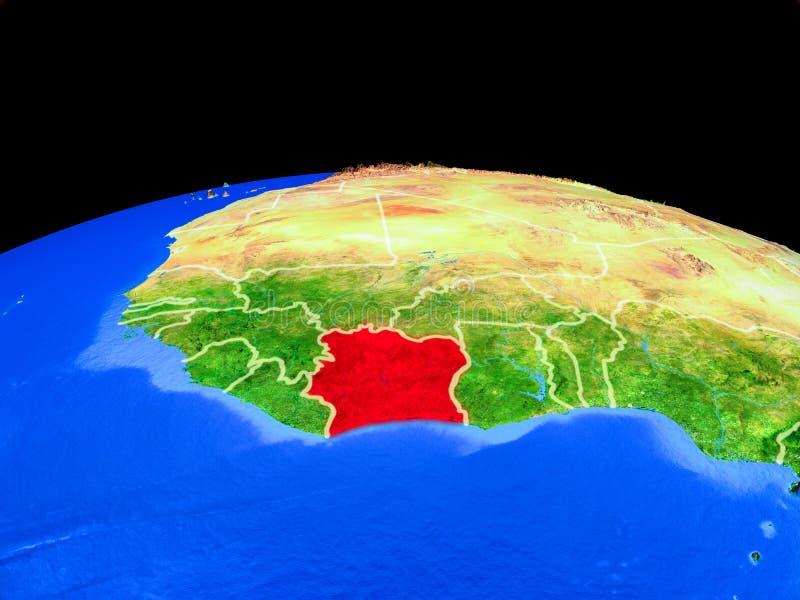 从空间的象牙海岸地球上 库存例证
