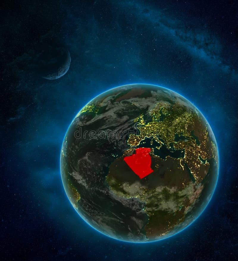 从空间的阿尔及利亚与月亮和银河的空间在晚上围拢的地球上 与城市光和云彩的详细的行星 3d 皇族释放例证
