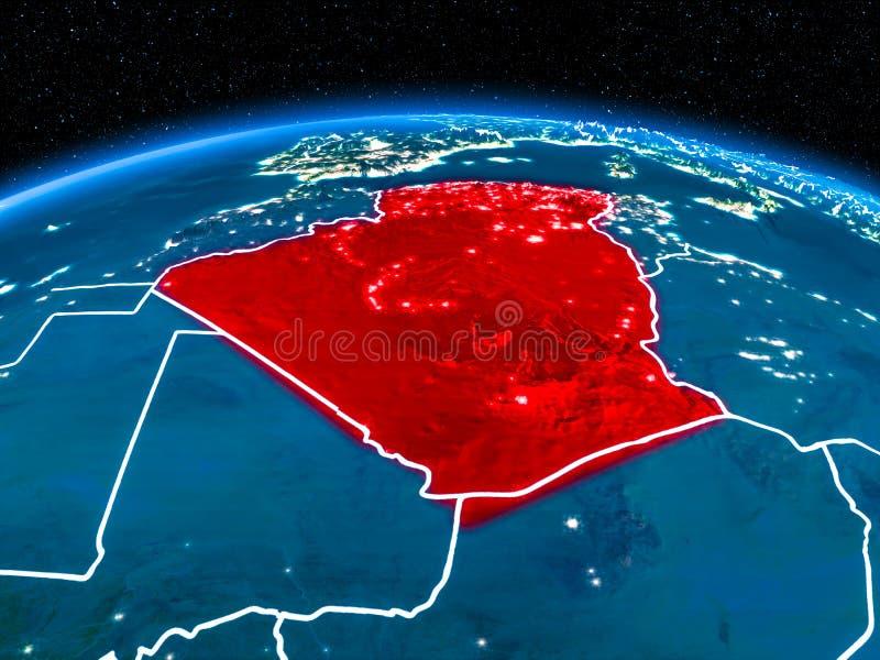 从空间的阿尔及利亚在晚上 向量例证