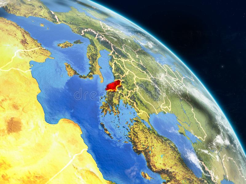 从空间的阿尔巴尼亚 库存图片